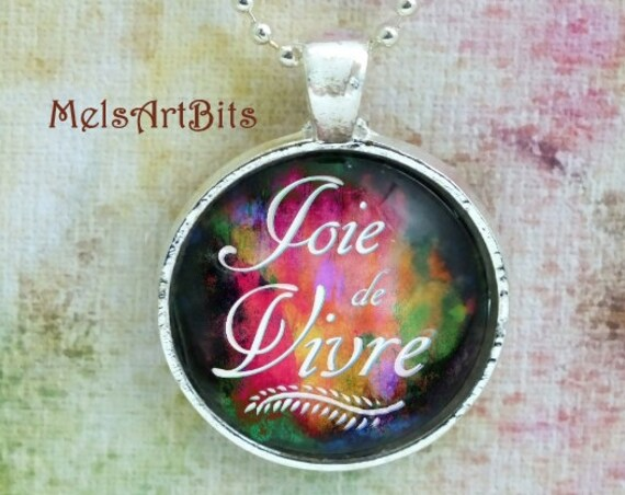 """Boho Chic """"Joie de Vivre"""" Joy of Life, Cheerful French Quote Pendant Necklace, Bright Bold Colors, Pendant Necklace Jewelry"""