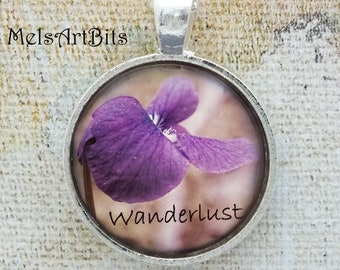Wanderlust Wild Violet Photo Pendant Necklace, Purple Lavender White Floral, Nature Botanical Wild Flower Photo Pendant Necklace