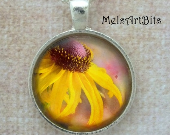 Yellow Daisy Flower Pendant Necklace, Black - Eye Susan, Daisy, Coneflower Garden Yellow and Pink,  Hippie Flower Pendant Necklace
