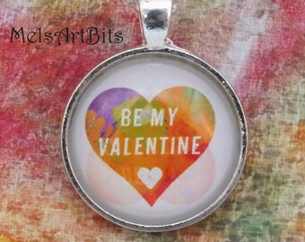 Be My Valentine Abstract Heart, purple orange red green heart Fun and Funky Glass Pendant Necklace