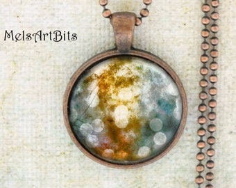 Abstract Bokeh Fairy Lights / Woodland / Fantasy Surreal / Blue Teal Gold Copper Amber White / Boho Hippie Chic Glass Pendant Necklace