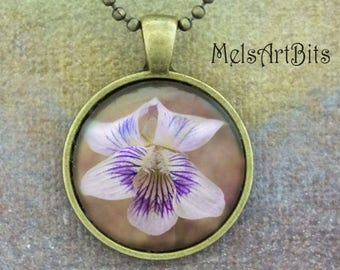 Wild Violet Photo Pendant Necklace, Purple Lavender White Floral, Nature Botanical Wild Flower Photo Pendant Necklace