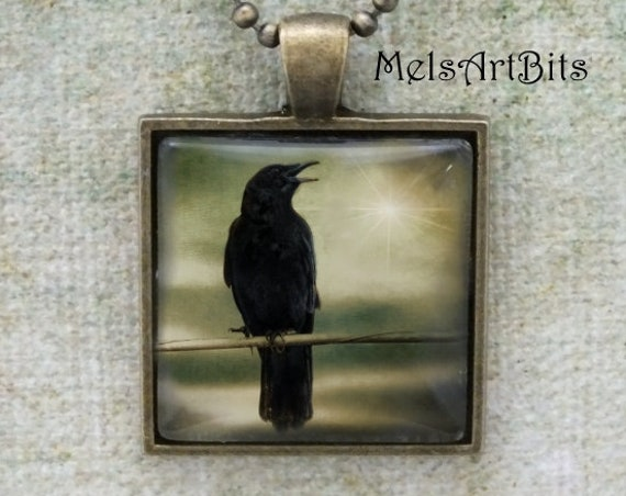 Goth Raven Crow Surreal Twilight Sky / Black Bird  Photo / Animal Totem / Raven Crow Talisman / Photo Pendant Necklace Jewelry
