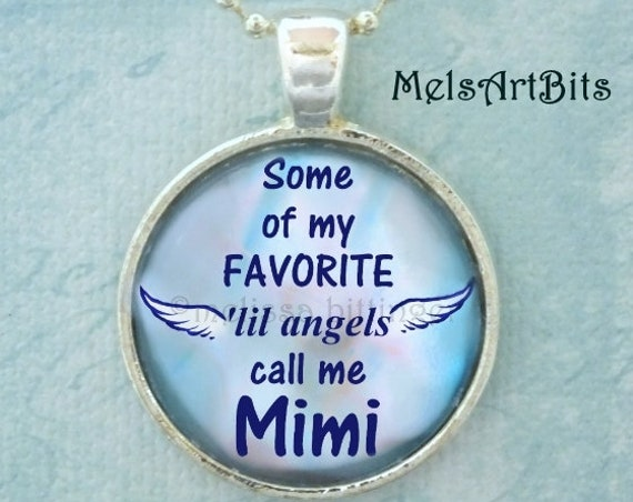 Mimi Gifts, Some of My Favorite Angels Call Me Mimi Pendant Charm Necklace, Mimi's Angels Blue White Pink Grandma Grandmother Mimi Gifts