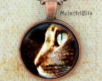 Green Eyed Tabby Cat Profile Portrait Photo Pendant Necklace, Feline, Cat Lover's Jewelry Gifts Pendant Necklace Jewelry