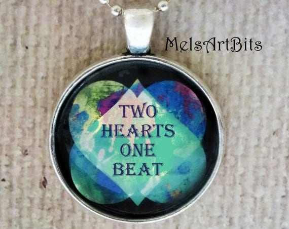 Avant Garde Abstract Modern Double Hearts Two Hearts One Beat Boho Chic Aqua Blue Mint and Black Pendant Necklace