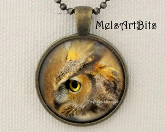 Great Horned Owl Pendant Charm Necklace, Owl Totem Spirit Guide Jewelry, Nature Woodland Jewelry Necklace Nature Lover, Unisex Jewelry