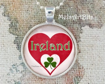 I Heart Ireland with a Shamrock Pendant Necklace, Red Heart Ireland and Traditional Green Shamrock Pendant Necklace Jewelry