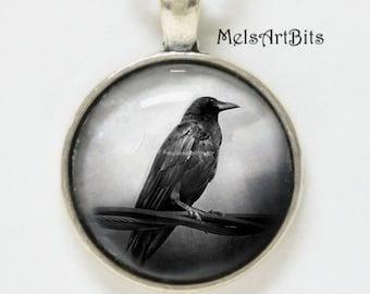 Raven Crow Black Bird Pendant Necklace/ Spooky Goth Jewelry/ Black White Silver / Protection Talisman, Goth Pendant Charm Necklace
