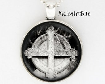 Goth Girl Gothic Fleur de lis Victorian Period Cemetery Cross Headstone Graveyard Black & White Photo Pendant Necklace  Mortuary Jewelry
