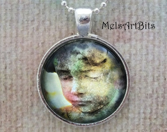 Little Girl Cemetery Angel Fine Art Photo Pendant Necklace, Guardian Angel, Grief Mourning, Gothic Romance, Goth Angel Jewelry