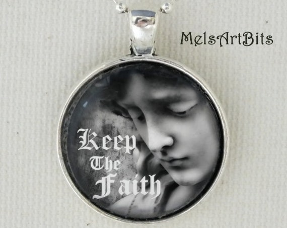 Keep The Faith Black and White Guardian Angel Fine Art Photography Pendant Necklace, Inspirational Faith Religious Angel, Christian Gifts