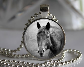 Black and White Horse Photo Pendant Necklace Jewelry