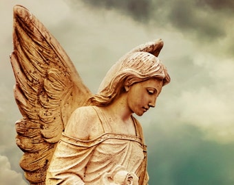 Angel Statue Cemetery Guardian Angel Protector Spiritual Fine Art Photography Print or Gallery Canvas Wrap Giclee
