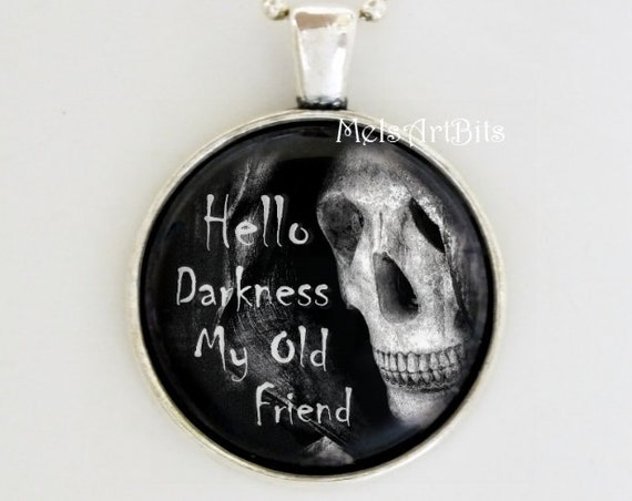 Black and White Grim Reaper Goth Pendant Glass Charm Neckace, Death Darkness Dark Goth Gothic Skull Macabre Jewelry or Key Chain Fob