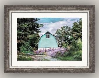 Aqua Blue Barn Dreamy Landscape Cottage Chic Feminine Rustic Decor Blue Lavender Green White Fine Art Photography Print