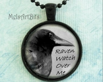 Raven Crow Black Bird Animal Witch's Familiar / Witchcraft Spells / Pendant Necklace/ Spooky Goth Jewelry/ Black White / Protection Talisman