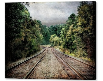 Railroad Train Tracks Country Landscape North Carolina Travel Journey Destinations Unknown Fine Art Photography Giclee Gallery Wrap Canvas