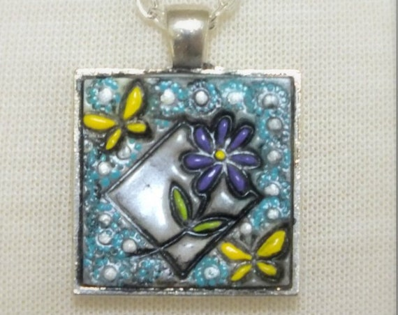 Daisy Butterfly Pendant Necklace Polymer Clay