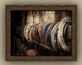 Horseshoe Still Life Blacksmith Rustic Country Equestrian Lover's Art, Southwestern, Cowboy Horse Lover's Art Fine Art Photography Print