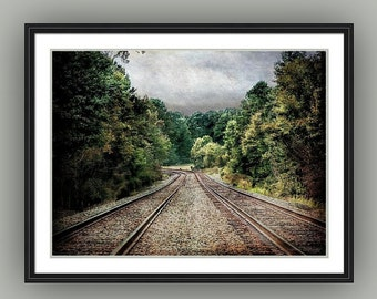 Travel Journey Railroad Double Train Tracks Rustic Woodland Landscape North Carolina Fine Art Photography Print