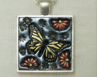 Yellow Monarch Butterfly Orange Daisy Flowers, Pendant Necklace Polymer Clay Jewelry, Boho Hippie Jewelry