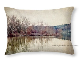 Fine Art Photography Winter Time Lake Landscape on a Travel Pillow, Rectangle Pillow Home Decor