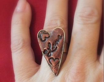 Red Heart Love Ring Polymer Clay