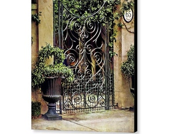 Charleston South Carolina Historic Home Wrought Iron Gated Entrance and Walled Garden Fine Art Photography Gallery Wrap Canvas or Print