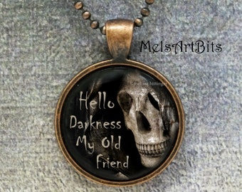Grim Reaper Goth Pendant Glass Charm Necklace, Hello Darkness My Old Friend, Death Dark Goth Gothic Skull Macabre Jewelry