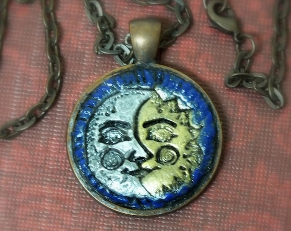 Sun and Moon Pendant Necklace Polymer Clay