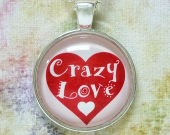 Crazy Love Red White Heart Valentine's Day Gift Crazy In Love Fun Whimsical Romantic Anniversary Gift for Her