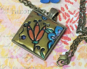 Bohemian Flower Pendant Necklace, Boho Hippie Jewelry