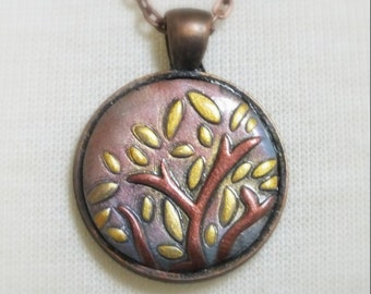 Abstract Tree Branch Clay Necklace