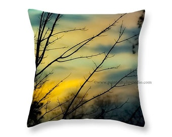 Tree Branches Silhouette against a Winter Sunset Nature Woodland Rustic Landscape Square Pillow Fine Art Photography Home Decor