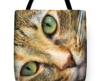 Feline Cat Canvas Tote Bag, Photo Tote Bag, Beach Bag, Book Bag, School Bag, Reusable Shopping Bag, Farmer's Market Tote bag , Fine Art Tote