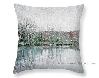 Square Pillow Fine Art Photography, Winter's Lake Snow Landscape, Waterscape Winter Pale Pastel Colors Snow Scenery Water Home Decor