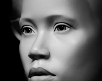 Black and White Mannequin Still Life Beautiful Face African Nubian Portrait Low Key Fine Art Photography Print or Gallery Canvas Wrap Giclee