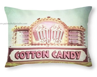 Whimsical Carnival Signage Popcorn and Cotton Candy Shades of Pink and White with an Aqua Teal Sky Fine Art Photo - Accent or Travel Pillow