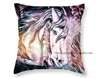 Fantasy Horses Square Pillow Fine Art Photography Home Decor