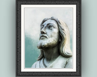 Heavenly Father Jesus Christ Portrait, Faith Religious Figure Christianity, Blue Aqua White Gray Grey Fine Art Photography Print