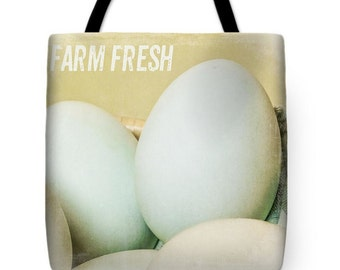 Farm Fresh Eggs. Canvas Tote Bag, Photo Tote Bag, Reusable Shopping Bag, Farmer's Market Tote bag , Fine Art Tote