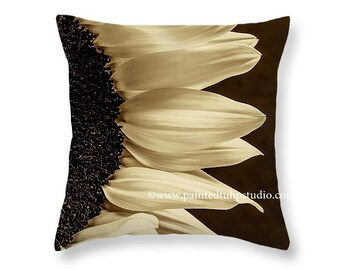 Sunflower Closeup Floral Cream Dark Brown Sepia Tones Square Accent Pillow Fine Art Photography Home Decor