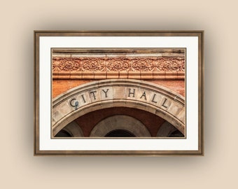 City Hall Signage Richardson Romanesque Style Architecture Statesville North Carolina Fine Art Photography Print