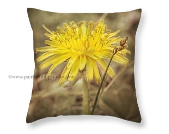 Yellow Dandelion Botanical Rustic Woodland Nature Square Pillow Fine Art Photography Home Decor