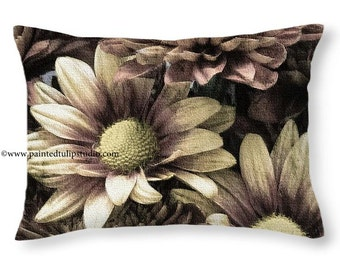 Travel Pillow, Rectangle Pillow with Fine Art Photography Home Decor Rustic Mums Bouquet