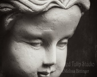 Zen Girl Statue Black and White Spa Meditation Decor Fine Art Photography Print or Gallery Canvas Wrap Giclee