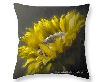 Sunflower Floral Decor Yellow and Gray Elegant Square Accent Pillow Fine Art Photography Home Decor