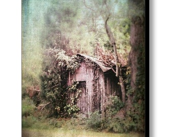 Abandoned Old Shed Barn Rural Country Dreamy Landscape Architecture Scene Fine Art Photography on Gallery Wrap Canvas