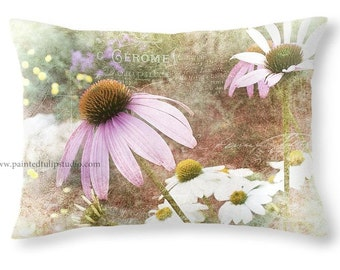 Cottage Garden Purple and White Coneflowers and French Script Travel Pillow, Rectangle Pillow with Fine Art Photography Home Decor